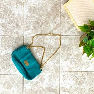 Gold Chain Teal/Aqua MK Michael Kors Purse Clutch
